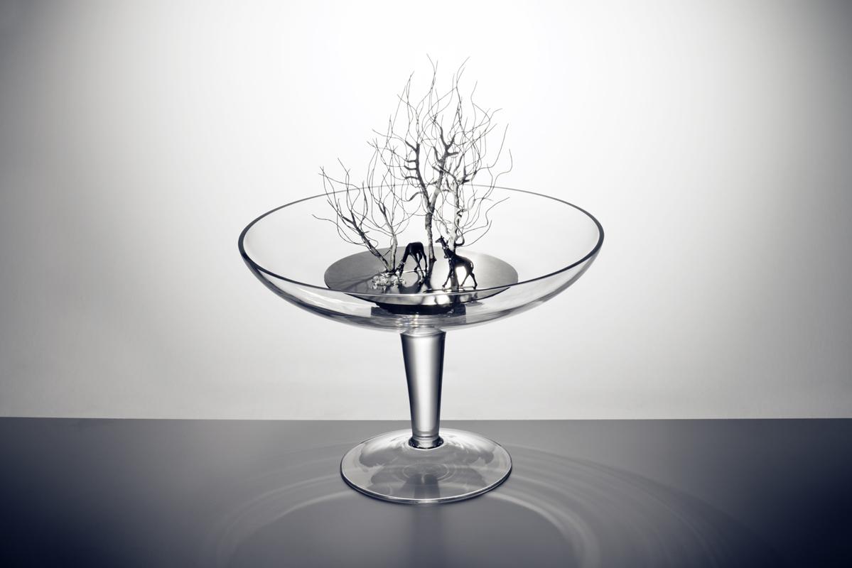 Objekt aus Glas, Edelstahl und Spiegelsteinen