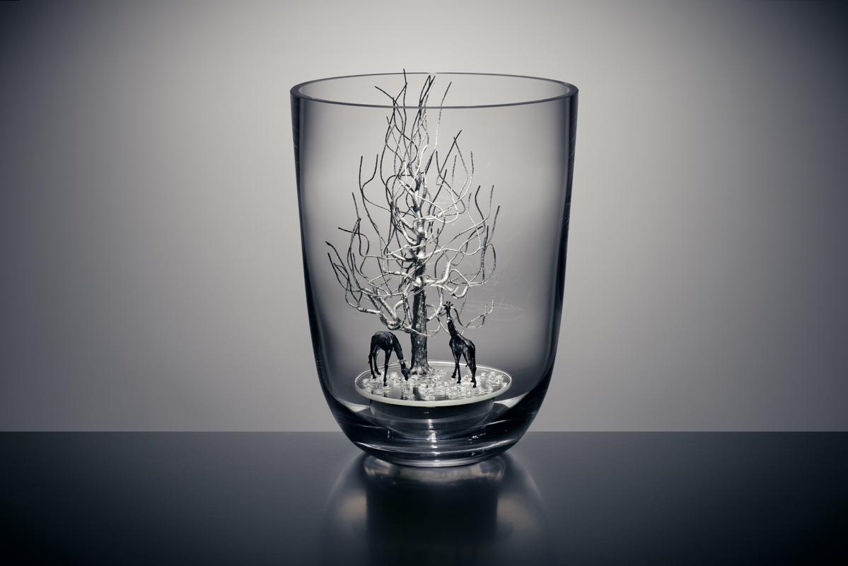Objekt aus Glas, Spiegel und Edelstahl